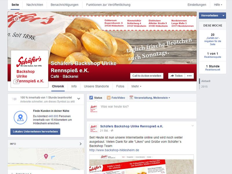 Schäfer´s Backshop Facebook
